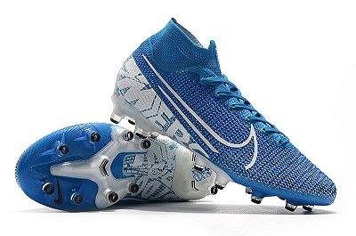 Chuteira Campo Nike Mercurial Superfly 7 Elite SE AG Azul Bebê e Branco Cano Alto