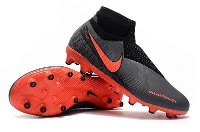 Chuteira Campo Nike Phantom VSN Elite DF AG Cinza e Laranja