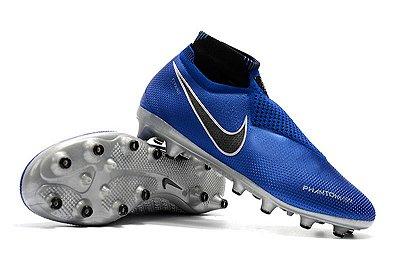 Chuteira Campo Nike Phantom VSN Elite Azul Preto e Cinza (Cano Alto)