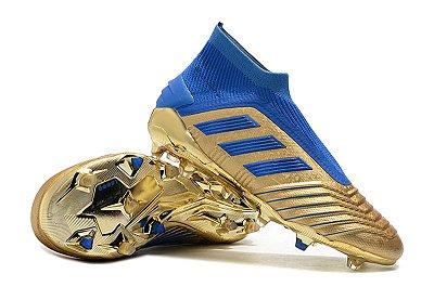 Chuteira Campo Adidas Predator 19+ FG Azul e Dourada (Cano Alto)
