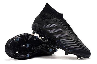 Chuteira Campo Adidas Predator 19+ FG Black (Cano Alto) com Cadarço
