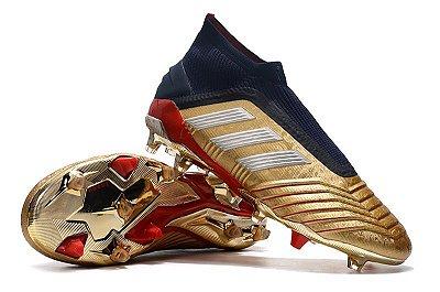 Chuteira Campo Adidas Predator 19+ FG Dourada Vermelha e Azul (Cano Alto)