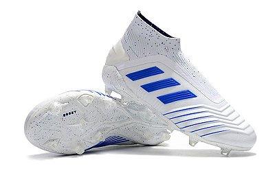 Chuteira Campo Adidas Predator 19+ FG Branca e Azul (Cano Alto)