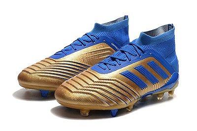 Chuteira Campo Adidas Predator 19+ FG Azul e Dourado com Cadarço (Cano Alto)