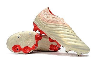 Chuteira Campo Adidas Copa 19+ FG Branca e Vermelho
