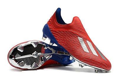 Chuteira Campo Adidas X 18 FG Vermelha Azul e Solado Prateado e Azul