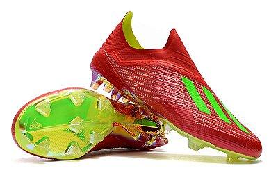 Chuteira Campo Adidas X 18 FG Vermelha e Verde FRETE GRÁTIS