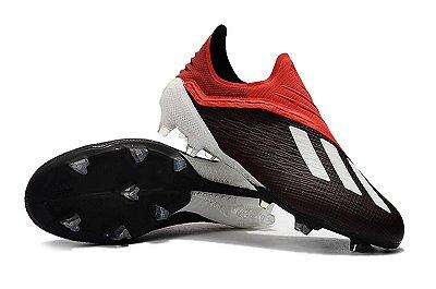 Chuteira Campo Adidas X 18 FG Vermelha e Preto FRETE GRÁTIS