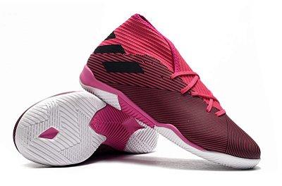 Chuteira Futsal Adidas Nemeziz 19.3 IN Rosa e Branca