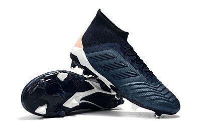 Chuteira Campo Adidas Predator 19+ FG Azul Escuro e Beje com Cadarço (Cano Alto)
