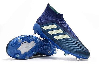 Chuteira Campo Adidas Predator 18+ FG Sem Cadarço Azul Escuro FRETE GRÁTIS (Cano Alto)