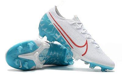 Chuteira Campo Nike Mercurial Vapor 13 Elite FG Branca Azul Bebê e Vermelho