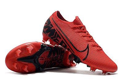 Chuteira Campo Nike Mercurial Vapor 13 Elite FG Vermelha e Preto