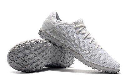Chuteira Society Nike Mercurial Vapor 13 Pro TF Branca e Cinza FRETE GRÁTIS