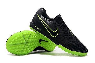 Chuteira Society Nike Zoom Phantom VNM Pro TF Preta e Verde Florescente