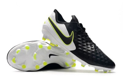 Chuteira Campo Nike Tiempo Legend 8 Elite FG Preto Branco e Verde Florescente