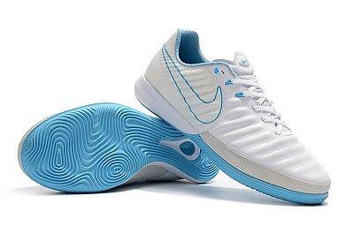 Chuteira Futsal Nike TimpoX Finale IC Azul Bebê e Branco FRETE GRÁTIS