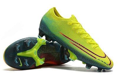 Chuteira Campo Nike Mercurial Vapor 13 Elite FG  Amarela Verde e Laranja Dream Speed FRETE GRÁTIS
