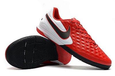 Chuteira Futsal Nike Tiempo Lunar Legend VIII Pro IC Vermelha e Preto FRETE GRÁTIS