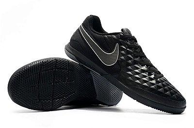 Chuteira Futsal Nike Tiempo Lunar Legend VIII Pro IC Preta e Cinza FRETE GRÁTIS