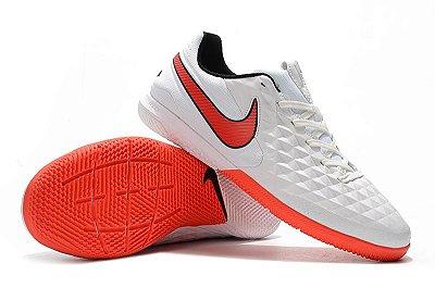 Chuteira Futsal Nike Tiempo Lunar Legend VIII Pro IC Branca e Laranja FRETE GRÁTIS