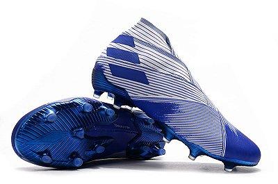 Chuteira Campo Adidas Nemeziz 19+ FG Branca e Azul FRETE GRÁTIS