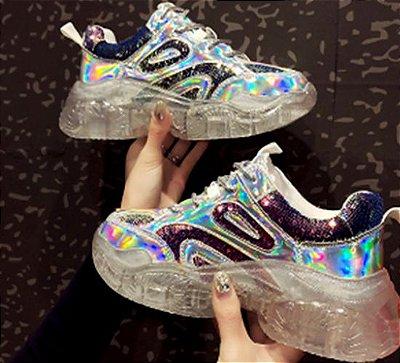 Tênis Chunky Sneaker Brilho Holografico (Várias Cores)