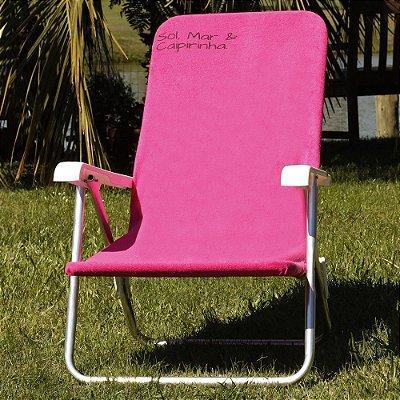Toalha para Cadeira de Praia Comphy Pink – Sol, Mar, & Caipirinha.