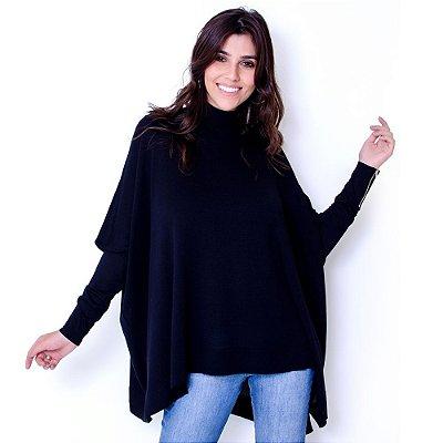 Blusa Poncho Tricot Comphy Black