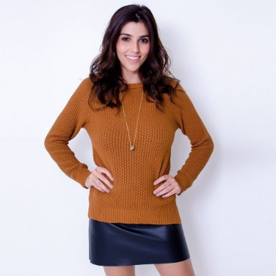 Blusa Tricot V Costas Comphy Camel