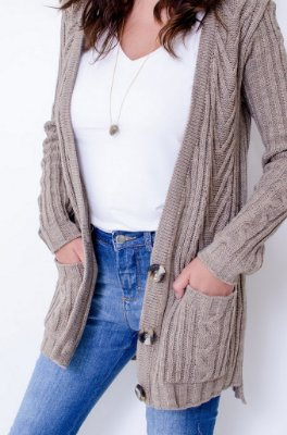 Cardigan Tricot Tranças Comphy Sand