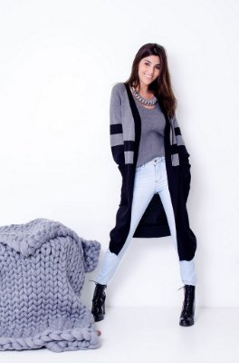 Maxi Cardigan Tricot Comphy Black&Grey