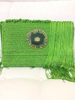 Bolsa de tiras de tapeçaria com franjas nylon verde