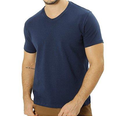Camiseta Cotton Gola V Azul Marinho
