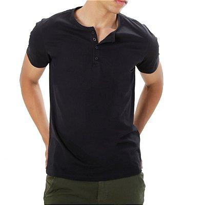 Camiseta Henley Preta