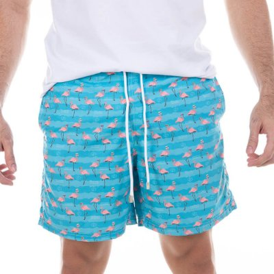 Short Masculino Estampado Flamingos