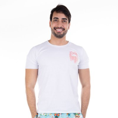 Camiseta Flamingo Branca