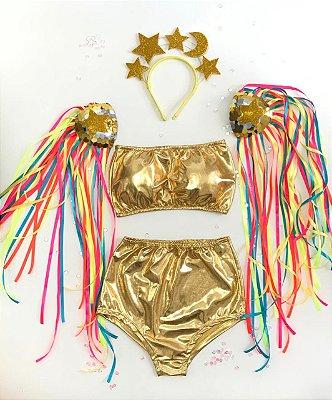 Conjunto Hot Pant -  Dourado