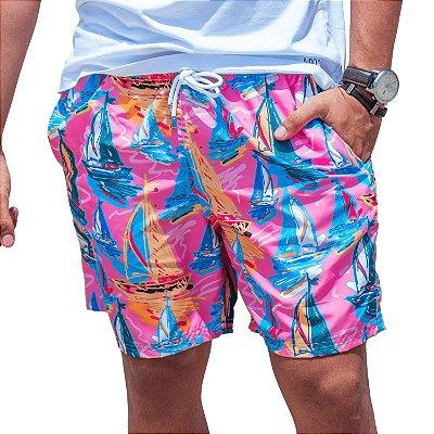 Short Masculino Estampado Barcos Rosa