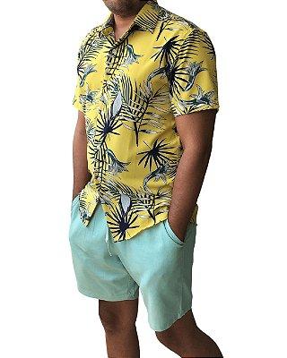 Camisa Estampada Masculina Amarela Flores