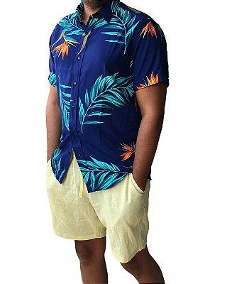 Camisa Masculina Estampada Tropical Azul