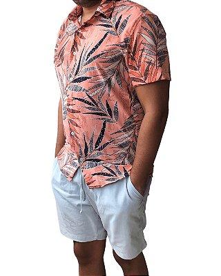 Camisa Masculina Estampada Tropical Rosa
