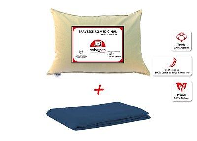 Combo - Travesseiro Medicinal Sobagara Bege + Capa Impermeável Azul Marinho
