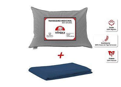 Combo - Travesseiro Medicinal Sobagara Cinza Escuro + Capa Impermeável Azul Marinho