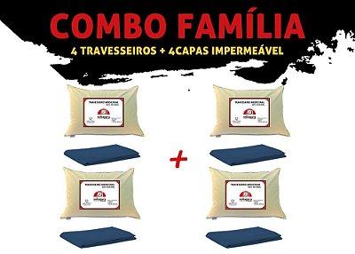 Combo Família - 4 Travesseiros Sobagara + 4 Capa Impermeável Azul Marinho