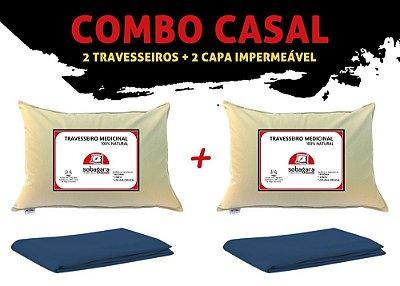 Combo Casal - 2 Travesseiros Sobagara + 2 Capas Impermeável Azul Marinho