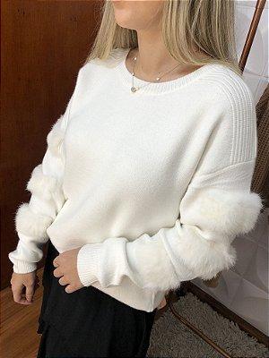 Blusão Lã Mousse com Pelos