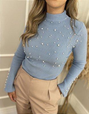 Blusa Tricot Modal com Pérolas