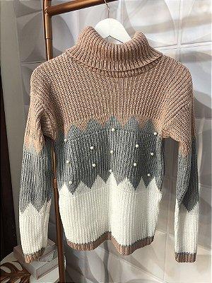 Blusão Tricot Gola Alta com Pérolas