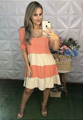 Vestido Crepe Bicolor